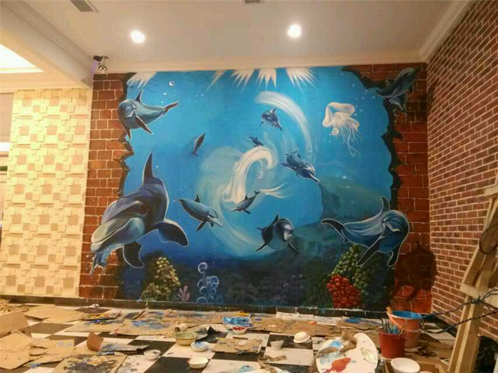 新余3d涂鸦,新余餐馆墙体彩绘,新余外墙绘画,新余手绘墙壁画